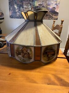 Stained glass country hanging ceiling fixture