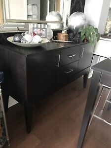 Dining table,  chairs, sideboard, rug, cube ottoman