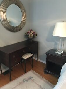 Antique desk and stool