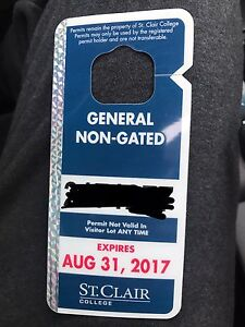 ST. CLAIR COLLEGE PARKING PERMIT ( NON GATED )