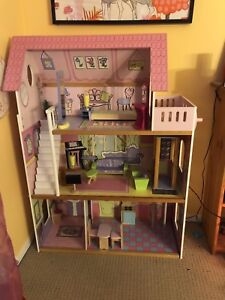 Large Wooden Dollhouse with moveable wooden furniture