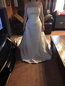 Size 8 white satin wedding dress