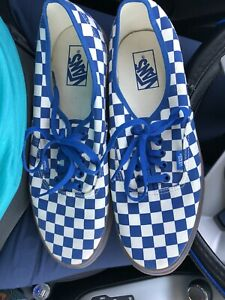 Vans runners sneakers shoes blue checkered 10.5
