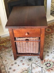 Solid wood and wicker end table