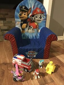 Paw Patrol toys and soft toddler chair