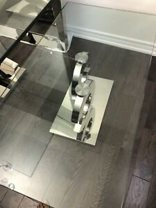 Designer Glass Dining Table Used for Staging