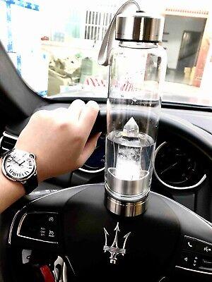 Healing Waters Spa - quartz crystal Reiki natural point obelisk spa Elixir glass water healing bottle