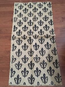 Burlap and black Fleur de Lis Fabric
