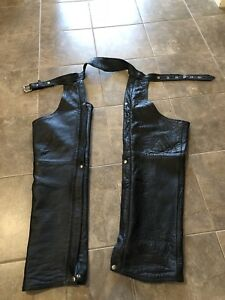 Black leather motorcycle chaps. Size 34
