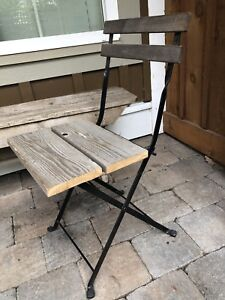 Outdoor Barn Wood Iron Folding Chair