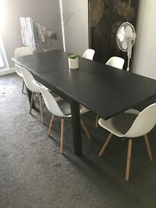 Extendable dining table 6 chairs set