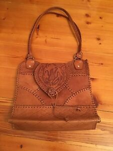 Real leather hand tooled purse
