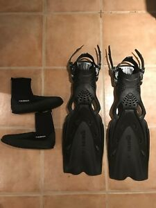 Mares x-stream open heel fins and boots