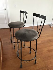 Ultra-Suede & Wrought Iron Style Barstools