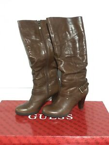 BEAUTIFUL GUESS FARNELLIS COGNAC BROWN LEATHER BOOTS 7.5