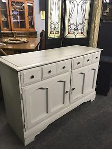 REFINISHED GREY VINTAGE SIDEBOARD $240