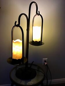 Hand made wrought iron and glass Dual table lamp