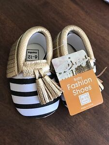 Striped/gold tassel baby moccasins