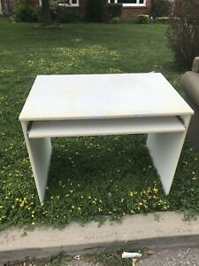 Curb alert - Small desk with keyboard tray
