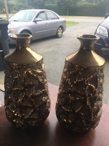 Two Beautiful Gold Vases