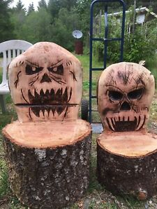 Hand carved log chairs