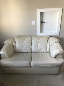 Cream Faux Leather Loveseat and Chair