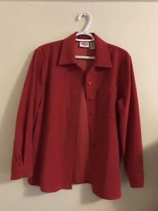Red suede button up top