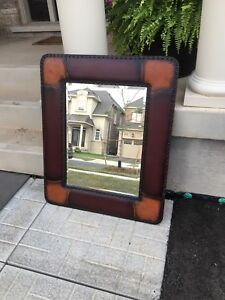 Leather Framed Decorative Mirror