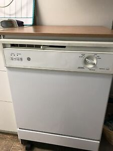 White GE Portable Dishwasher