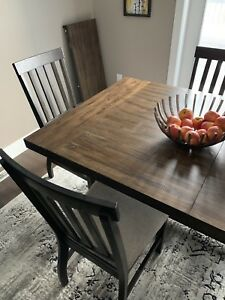 Rustic wood dining set 6 chairs & leaf