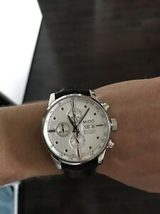 Mido Multifort automatic watch - white dial, black leather strap