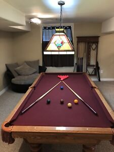 Olhausen Pool Table with Overhead Light & Rack