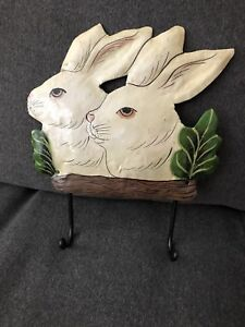 Metal Bunny Wall Plaque with 2 Hooks