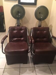 Two Hair salon chairs with removable  dryers