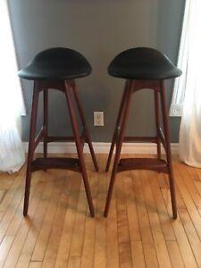 Beautiful pair of Teak bar stools model OD61 by Erik Buch