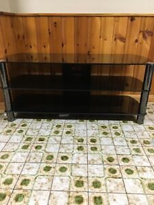 3 tiered black tempered glass tv stand