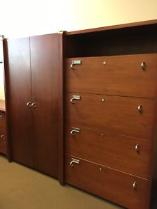 Office Furniture: desk, meeting table, 2 chairs, filing, PC desk