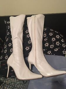 White knee high boots size 10