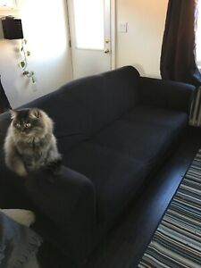Used couch with black couch cover included
