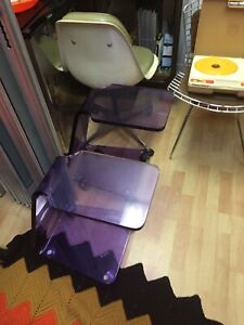 Pair of Authentic Shlomi Haziza H Studio Purple Lucite Tables