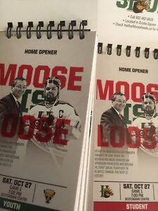 Two lower bowl tickets Mooseheads home opener Oct 27