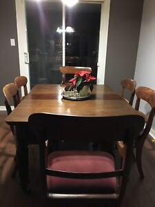 Large Antique Table with 6 Chairs