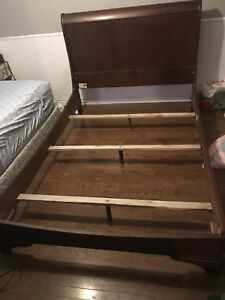 Sleigh bed all wood