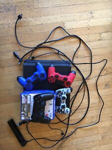 PS4 bundle with four games, cables and four remotes