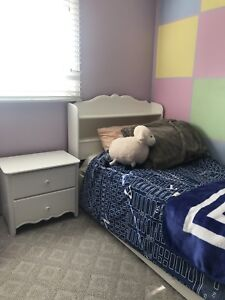 Twin Bed Frame with Storage and Side Table