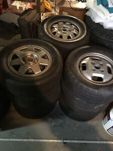 """3 sets of 13"""" rims and racing tires"""