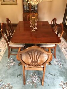 SOLID CHERRY DINING TABLE WITH 6 CHAIRS