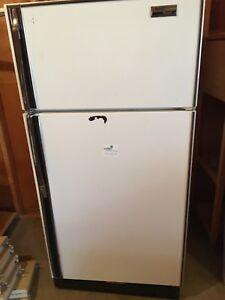 Garage fridge. Still works. Broken shelving