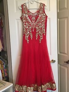 Stunning Dark Pink Indian Gown with Lace and Rhinestones