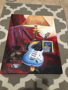 Music and geographic painting on canvas